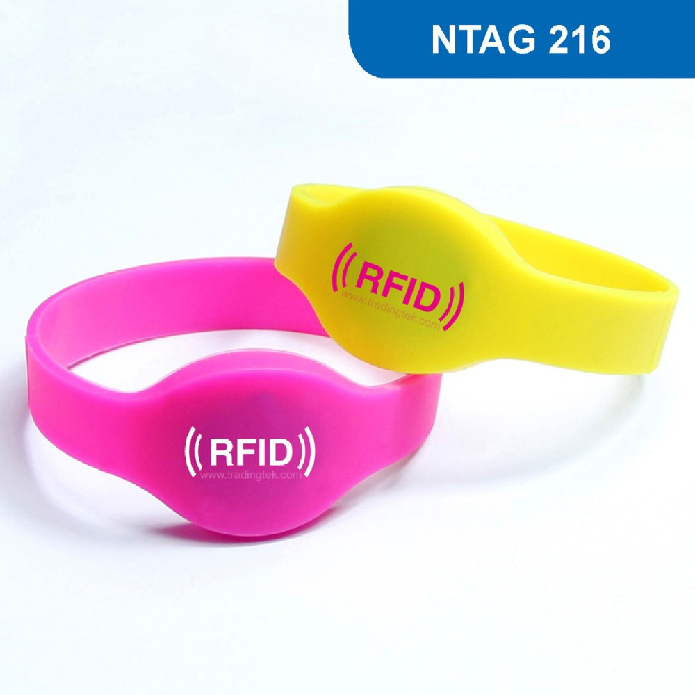 WB01 Silicone RFID Wristband for Access Control and club, NFC Smart Bracelet Tag 13.56MHZ 888KBYTE R/W ISO14443A with  NTAG 216 1000pcs long range rfid plastic seal tag alien h3 used for waste bin management and gas jar management