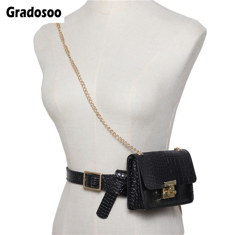 Gradosoo Alligator Waist Bag For Women Belt Bag Leopard Fanny Pack Female Shoulder Bag Chain Hip Bag PU Leather Women Bag LBF514