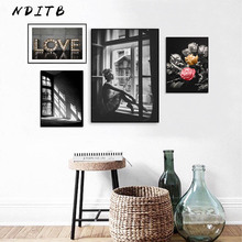 цены на Flower Girl Abstract Wall Art Canvas Painting Black White Posters and Prints Nordic Decoration Pictures Modern Living Room Decor  в интернет-магазинах