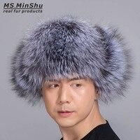 Ms MinShu Silver Fox Fur Hat With Sheepskin Leather Outer Shell Russian Fur Hat Unisex Winter