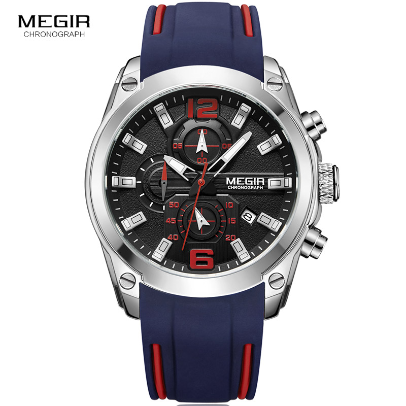 Esportes de Corrida Relógios de Pulso para Homens Exército à Prova Cronógrafo Quartzo Dwaterproof Água Luminosa Azul Silicone Relógios Masculinos Mn2063gbe-1