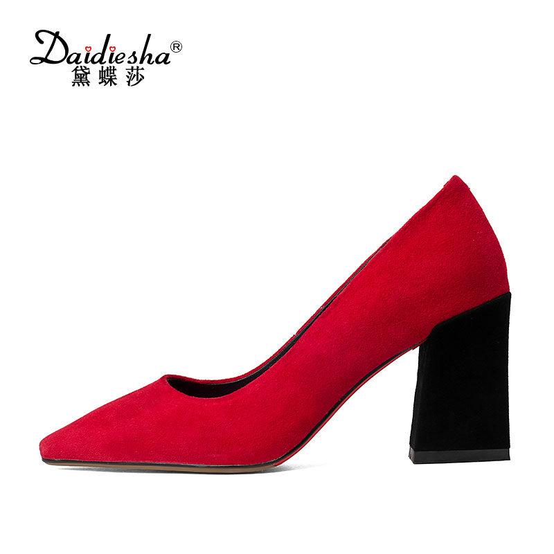 Vogue Classics Pumps Pointed Toe Thick High Heels Pumps Women Shoes Office Lady Black Kid Suede Shoes Woman 2017 Spring Summer 2017 new fashion brand spring shoes large size crystal pointed toe kid suede thick heel women pumps party sweet office lady shoe