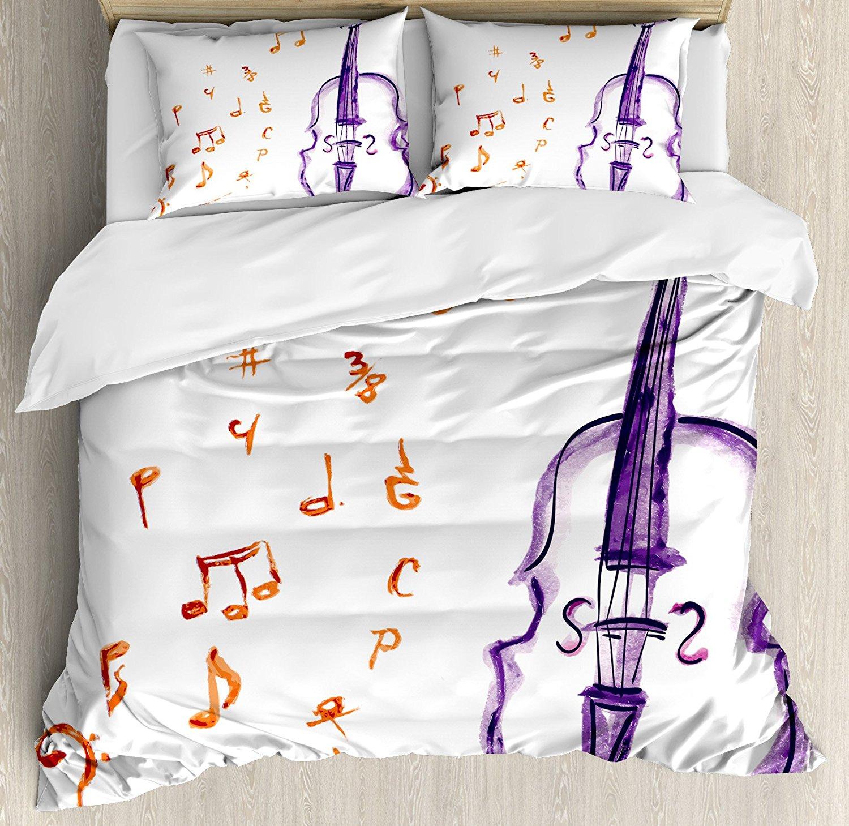 Музыка постельное белье музыкальные ноты Инструмент Скрипка Виолончель в акварели Стиль белый фон принтом 4 шт. Постельное белье