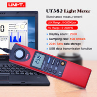 UNI T UT382 Luxmeter Digital Light Meter 20 20000 Lux Lumen Digital Illuminometer USB Transfer