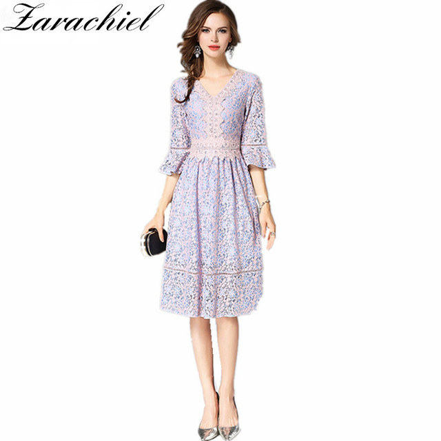 d2ed80253d Zarachiel Elegant Lace Dress Autumn Women Pink Flower Embroidered Lace  Overlay Flare Sleeve Sexy V-Neck Knee Length Party Dress