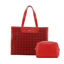 A&L Shoulder Bag Handbag Genuine Saffiano Leather Hollow Two Pieces Women(Red)