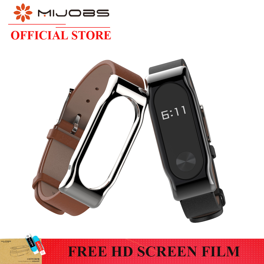 все цены на Original Mijobs Genuine xiaomi mi band 2 strap Leather Strap with Metal Frame Smart Bracelet xiaomi strap mi band leather онлайн