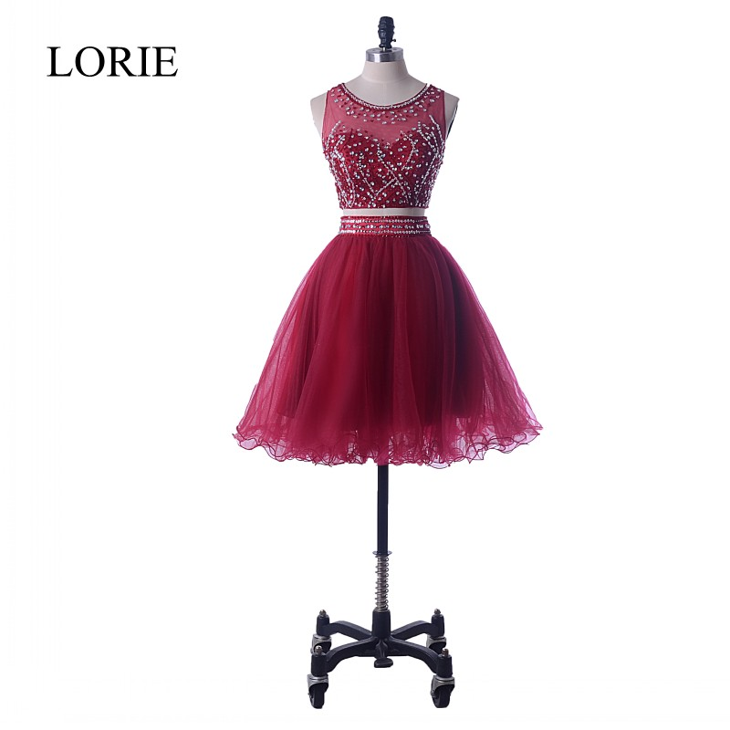 Burgundy 2 Piece   Prom     Dresses   Short 2018 New Designer Beading Mini Short Cocktail Graduation Party   Dress   For Teens Free Shipping