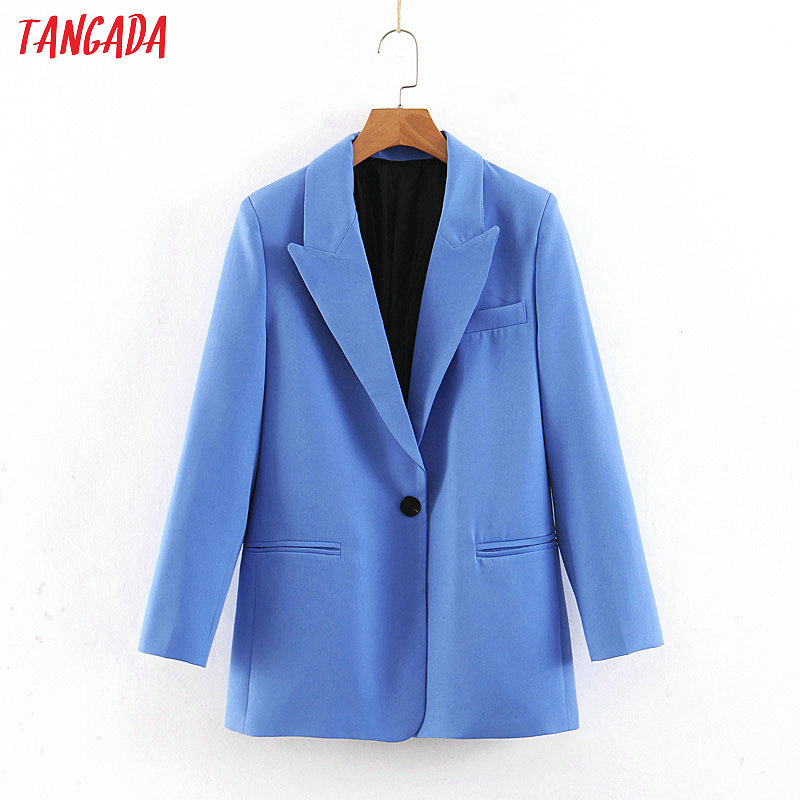 Tangada 2019 Women Formal Blue Blazer Long Sleeve Ladies Coat Female Pockets Buttons Blazer Work Office Business Suit SL273(China)