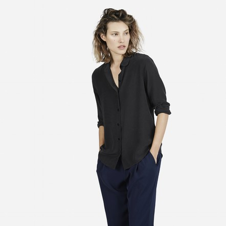 France EV 100 silk solid font b women b font long sleeve peter pan collar font