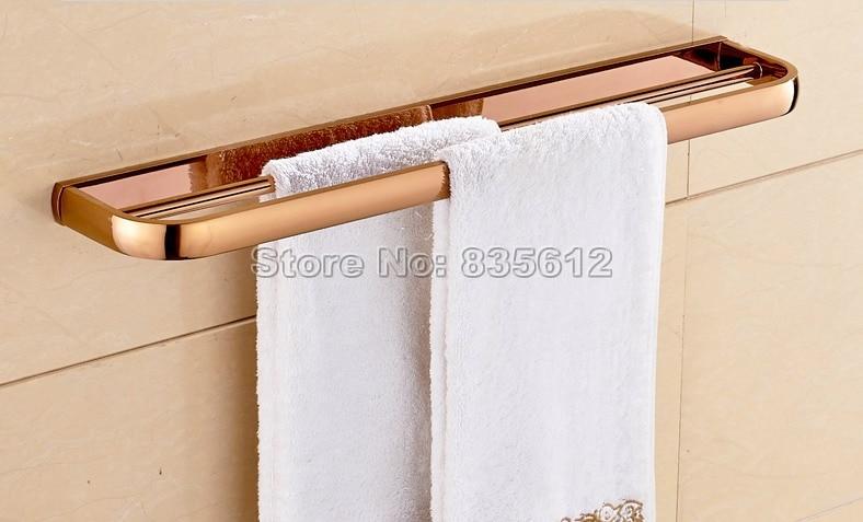 New Arrivals Rose Golden Brass Wall Mounted Bathroom Shower Double Towel Bar Rail Towel Holders Wba866