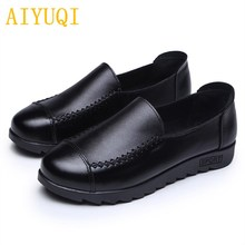 AIYUQI 2019 new 100% natural genuine leather womens flat casual shoes hand-stitched brand loafers high-quality mothers