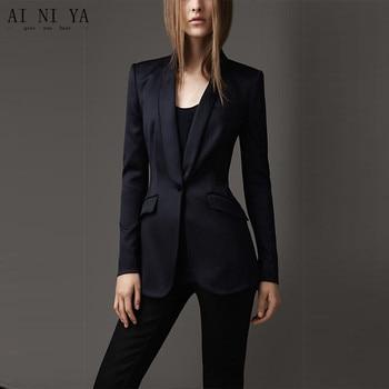 New Navy Jacket Black Pants Women's Business Suits Formal Office Uniform Female Work Wear 2 Piece Sets Blazer One Button