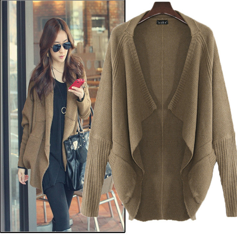 2016 New Fashion Women Casual Knitted Sweater Long Sleeve Coat Jacket Outwear Tops Cardigan Female A1137