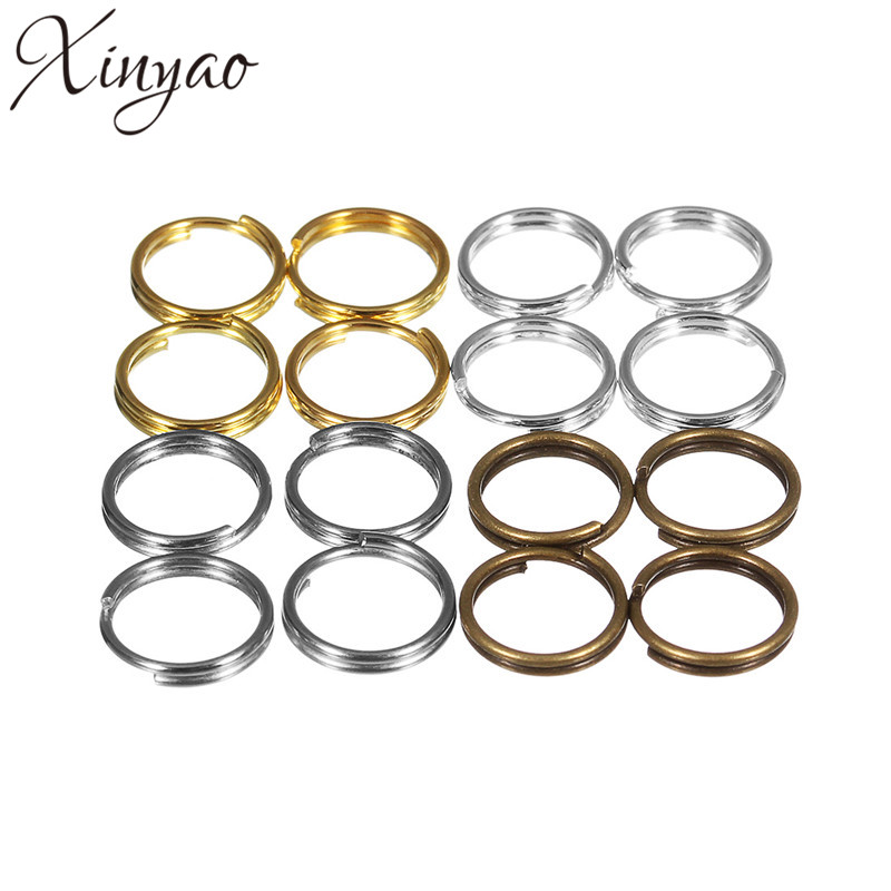 XINYAO 200pcs/Lot 4 5 6 8 10 Mm Copper Jump Rings Gold Silver Rhodium Color Split Rings Connectors For Diy Jewelry Making F906