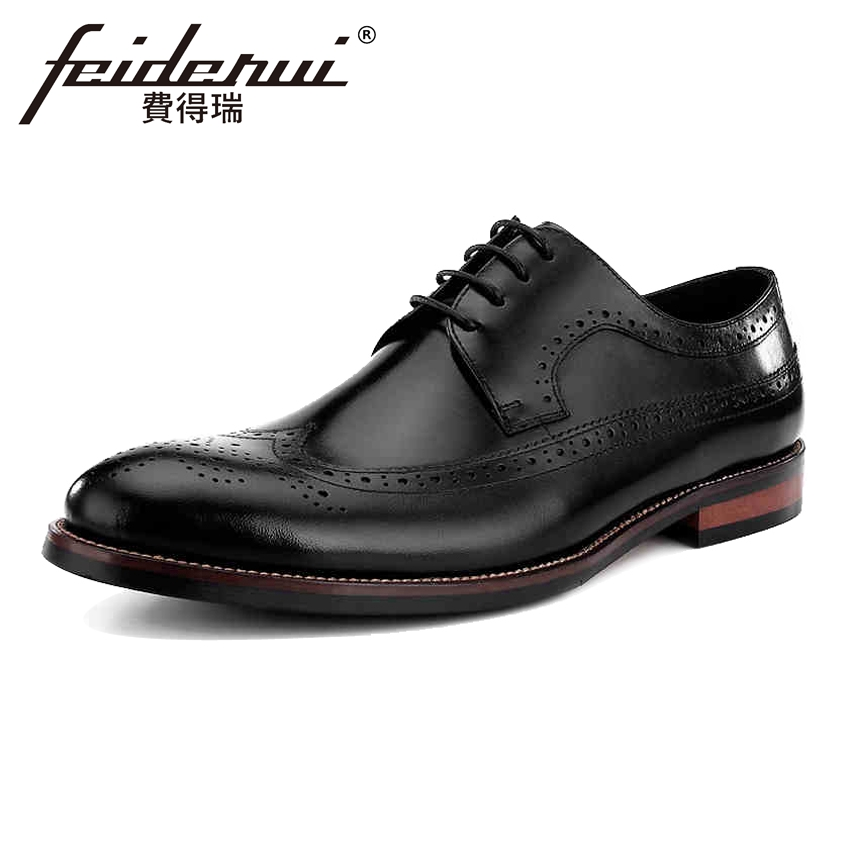 Vintage British Designer Genuine Leather Men's Oxfords Formal Dress Round Toe Male Wedding Flats Wingtip Brogue Man Shoes BQL69 new arrival british man wedding dress shoes fashion genuine leather male oxfords round toe formal luxury brand men s flats rf40