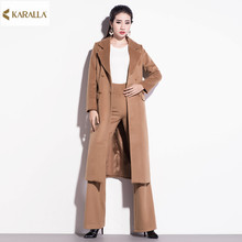 High quality 2016 women spring runeway fashion solid prints full sleeve long coat+ankle-length pants two pcs formal outfit D0457