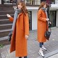 Зима новый Корейский свободные длинные шерстяные пальто толстый кокон тип колен куртка женщина сплошной цвет теплый заполнение хлопка пальто MZ1114