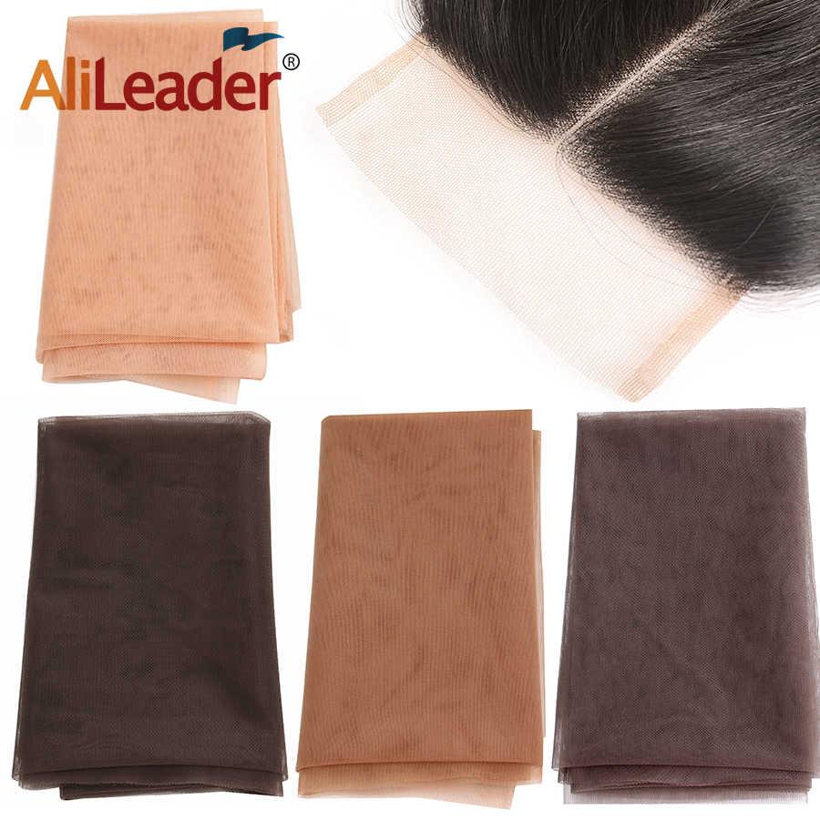 Alileader1/4 jarda swiss laço padrão net para fazer peruca peruca peruca fechamento superior fundação acessórios de cabelo monofilamento 4 cores