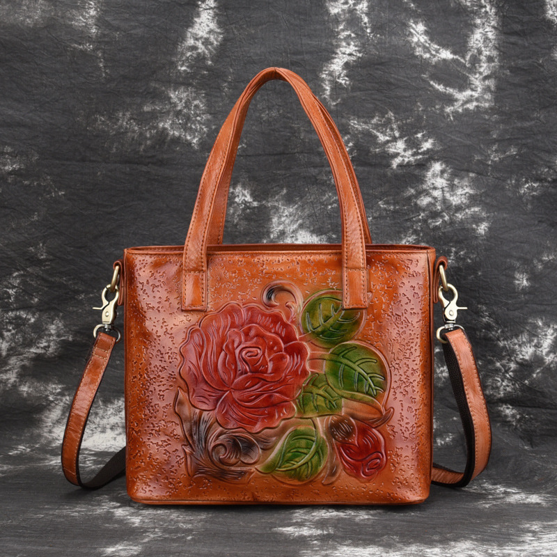 New Women Crossbody Shoulder Bag Genuine Leather Flower Engrave Womens Messenger Tote  Ladies Handbag Handle PackNew Women Crossbody Shoulder Bag Genuine Leather Flower Engrave Womens Messenger Tote  Ladies Handbag Handle Pack