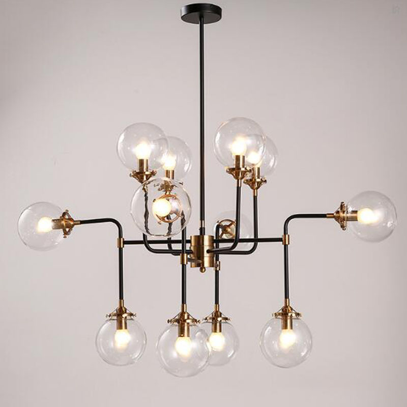 12 Heads Modern Shade Glass Chandelier Light E14 Bulb LED
