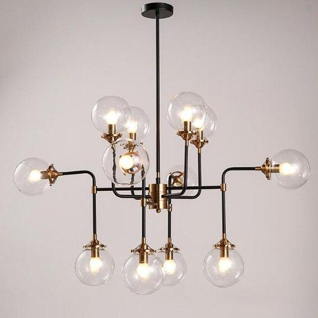 12 Heads Modern Shade Glass Chandelier Light E14 Bulb Led Pendant Lamp Artistic Sphere Beanstalk Molecular