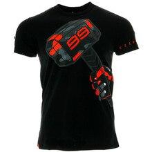Jorge Lorenzo 99 Moto GP Martelo T-shirt dos homens para o Esporte Corrida de Motos Motocross Preto