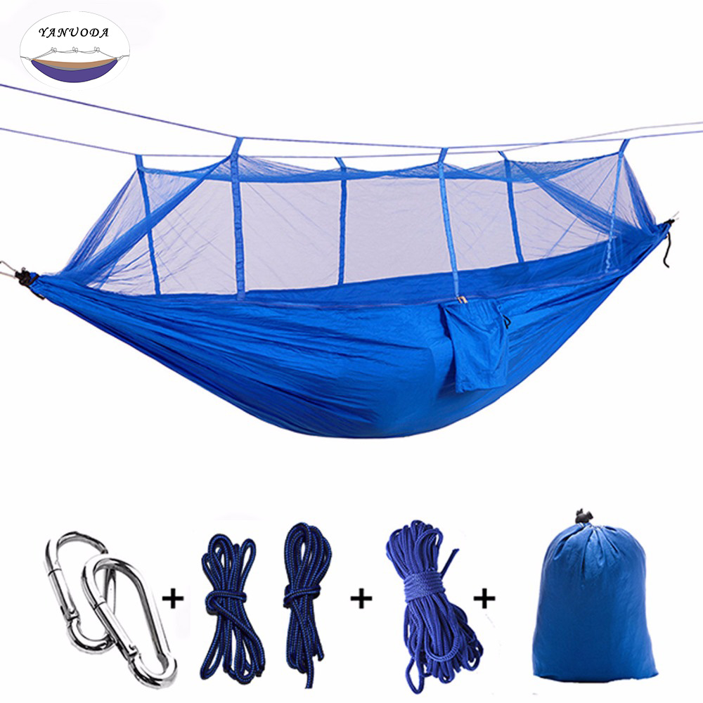 Double Person Hammockwith Mosquito Net Pure Blue