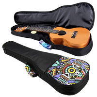 Hot Double Strap 21 23 26 Inch Hand Folk Canvas Ukulele Carry Bag Cotton Padded Case For Ukulele Guitar Parts Accessories