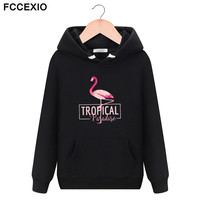 FCCEXIO Spring And Autumn New Brand Women Sweatshirt Black Flamingo 3D Printed Hip Hop Harajuku Hoodies