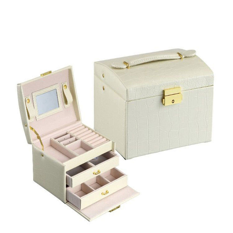 PU Leather Jewelry Box Three Double Drawer Girls Necklace Ring Earrings Jewelry Display With Mirror Storage Case 17.5x14x12cm