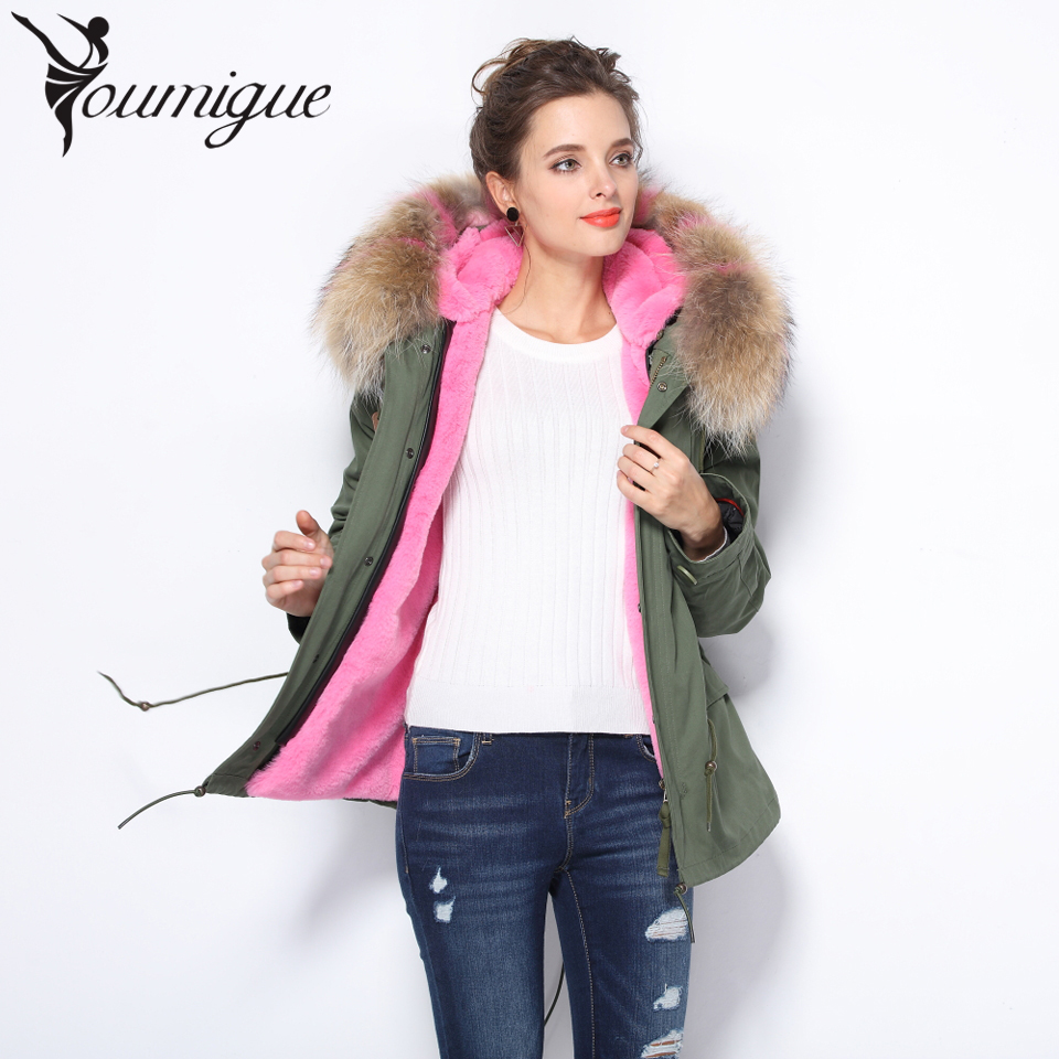 YOUMIGUE 2017 newest short winter jacket coat women parka natural large Raccoon Dog Fur Collar hooded