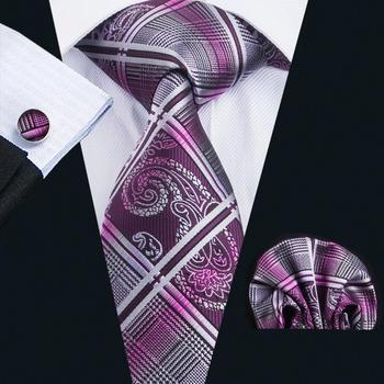 LS-1650 Barry. Wang 2017 hommes cravate ensemble soie Gravata violet Plaid cravate Hanky boutons de manchette pour mariage Business Party livraison gratuite