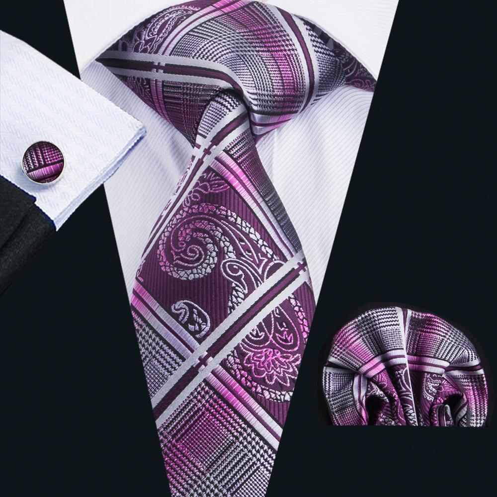 LS-1650 Barry. wang 2017 männer Krawatte Set Silk Gravata Lila Karierten Krawatte Hanky Manschettenknöpfe Für Hochzeit Business Party Freies Verschiffen