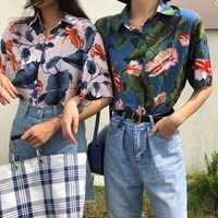 Harajuku Femmes Chemisier et hauts Imprimé Vintage Coréenne À Manches Courtes décontracté blusas Plage Hawaïenne femme dame chemises