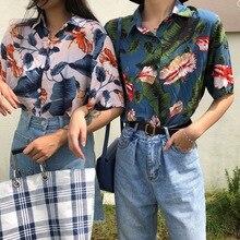 Harajuku Women Blouse and Tops Printed Vintage Korean Short