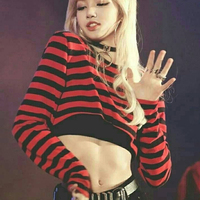 kpop BLACKPINK short stripe hoodies women long sleeve pullovers hip hop high waist sweatshirt female dance studio korean clothes