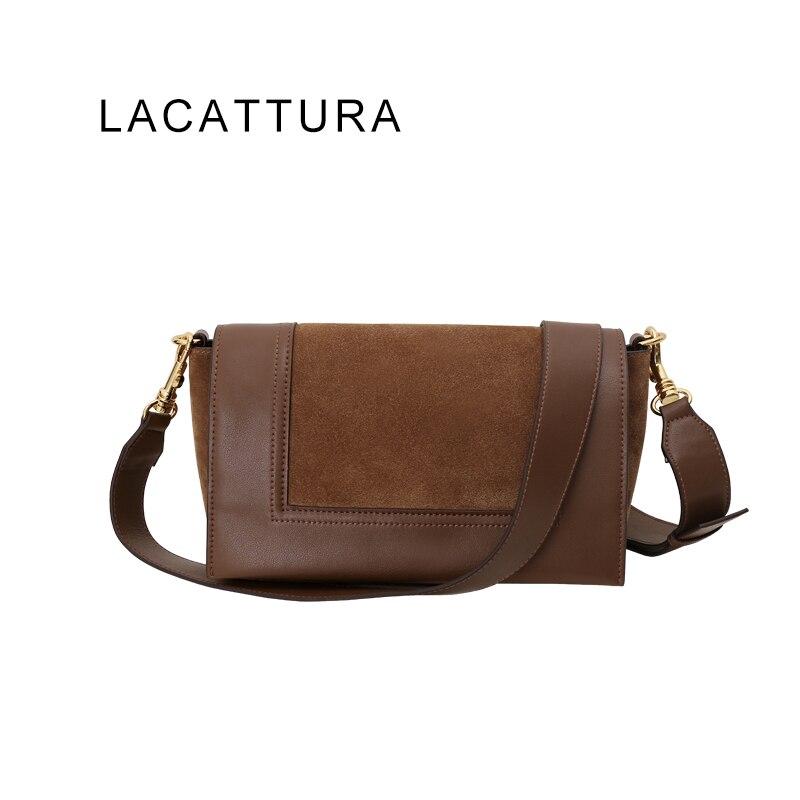 LACATTURA Hot Sale Classic Type Fashion Brand Design Women Messenger Bag Genuine Cowskin Celing Frame Shoulder Bag Suede Bolsa hot sale prdl18 7dn lengthen type