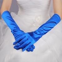 2016 New Red Black Royal Blue Long Satin Elegant For Bride Bridal Wedding Gloves Women Finger