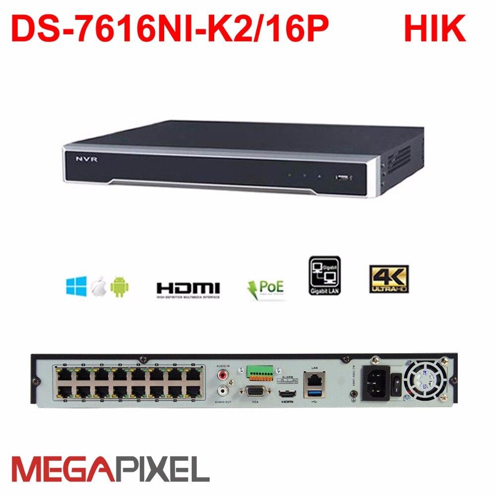 Hikvision video recorder 16h poe nvr camcorder DS-7616NI-K2/16 P unterstützung ip 8mp kamera cctv surveillanc sicherheit system h.265 4k