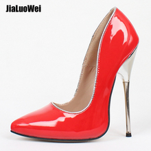 Fetish High Heels Women Pumps 14CM Stiletto Sharp Toe Ankle Wrap High Heel Spike Metal High Heel Bondage BDSM Rubber Shoes