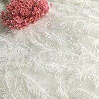 1 jardów biały gipiury koronki w stylu Vintage pióro liść koronki wykończenia biały koronkowe wykończenie do haftów Koronka z motywem afrykańskim 123 cm szerokości A2 w Koronka od Dom i ogród na