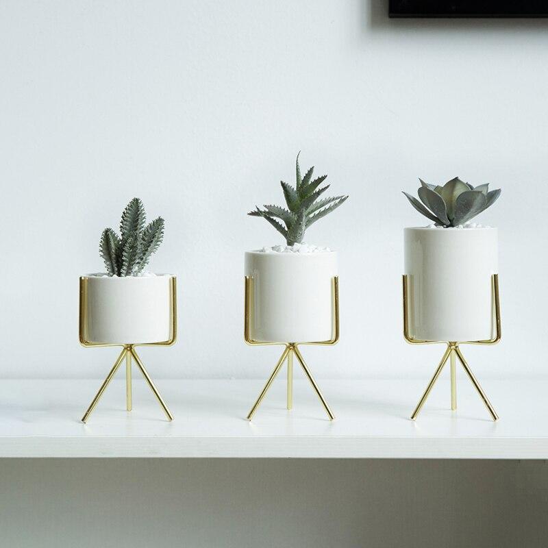 Conjunto de 3 piezas de flor de cerámica macetas con estante de hierro planta suculenta maceta hogar jardín decorativo florero sin plantas