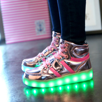 Warm like home 2017 New 25 36 USB Charger Glowing Sneakers Led Children Lighting Shoes Boys Girls illuminated Luminous Sneaker