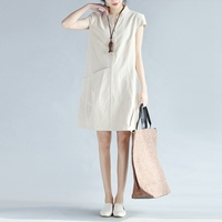 Summer Plus Size Women Clothing Fashion Loose Casual Straight V Neck Short Sleeve Cotton Linen Dresses