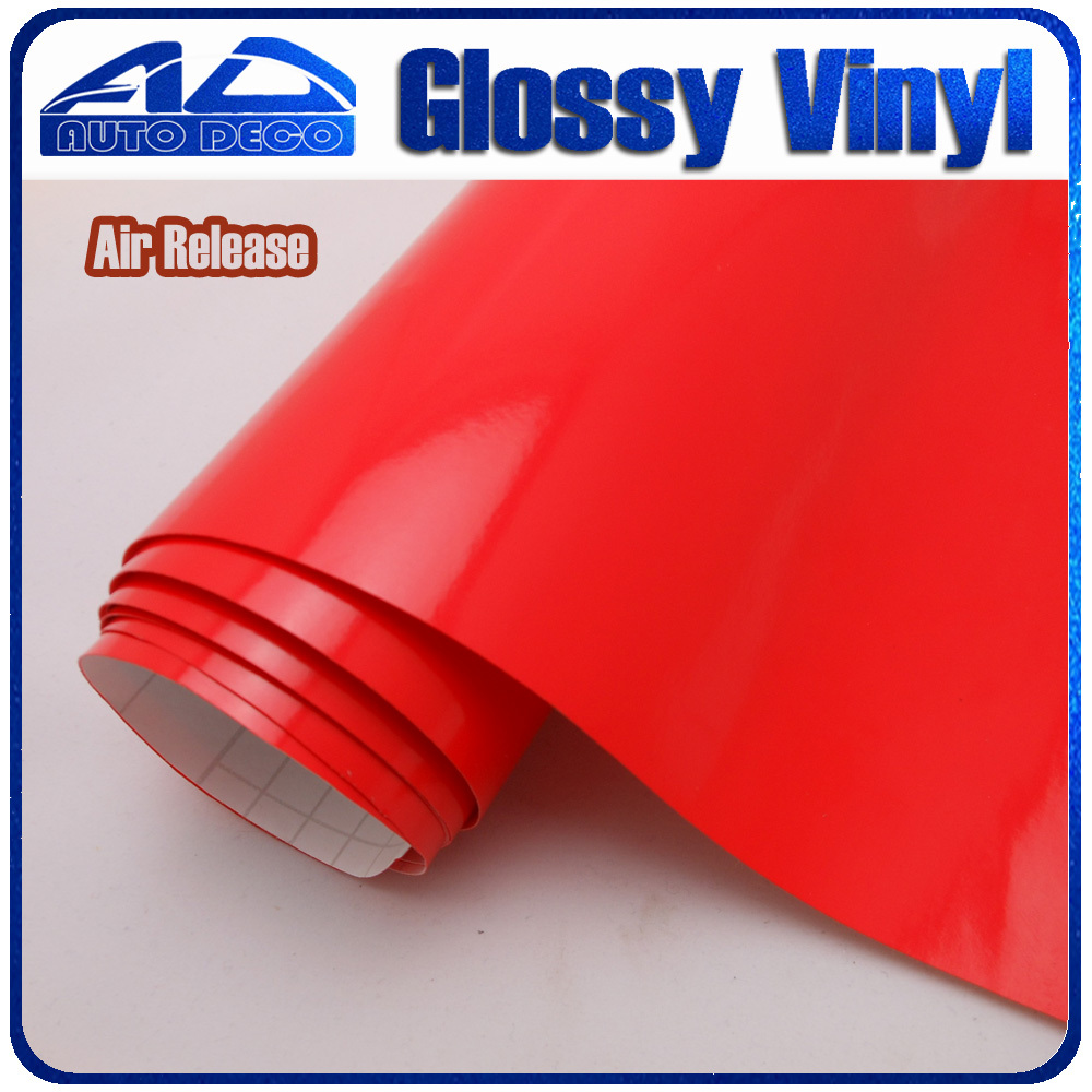 30m/roll High Quality Red Glossy Vinyl Wrap Car Deco Sticker Film With Air Bubble Free FedEx Free Shipping Size :1.52*30m/roll high quality black glossy 2d carbon fiber vinyl air free bubble for vehicle wraps size 1 52 30m roll