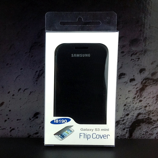 Samsung Galaxy S3 SIII Mini I8190 Flip Cover Case + Screen Protectro : Black