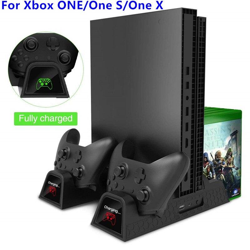 Вертикальный охлаждающая подставка для Xbox ONE/One S/One X кулер вентилятор с 2 pack 600 мАч батареи, игры для хранения, двойной контроллер зарядки