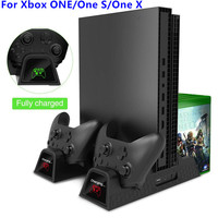 Vertical Cooling Stand for Xbox ONE/One S/One X Cooler Fan with 2pack 600mAh Batteries,Games Storage, Dual Controller Charging