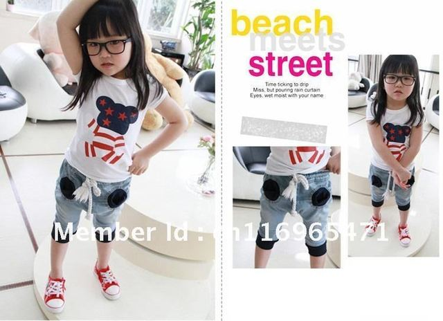 Boy Girl Jeans Pants Children pants in South Korea Style Kid's Pants with pockets New but hot sale